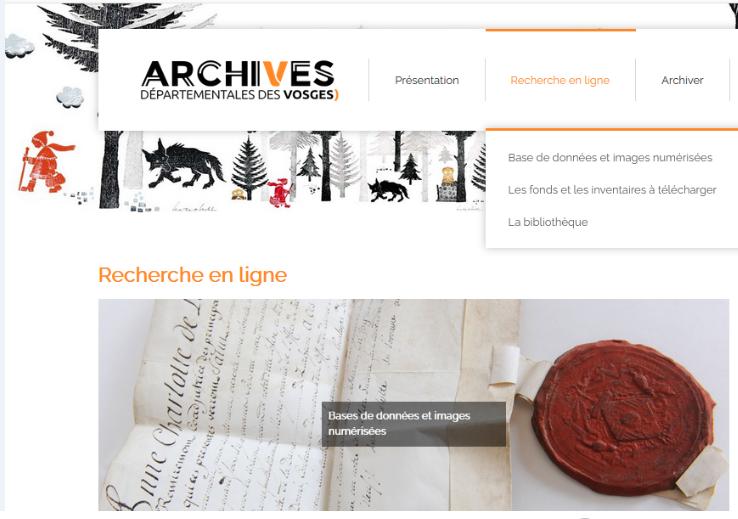Copie d'écran du site des archives départementales des Vosges, mars 2021.