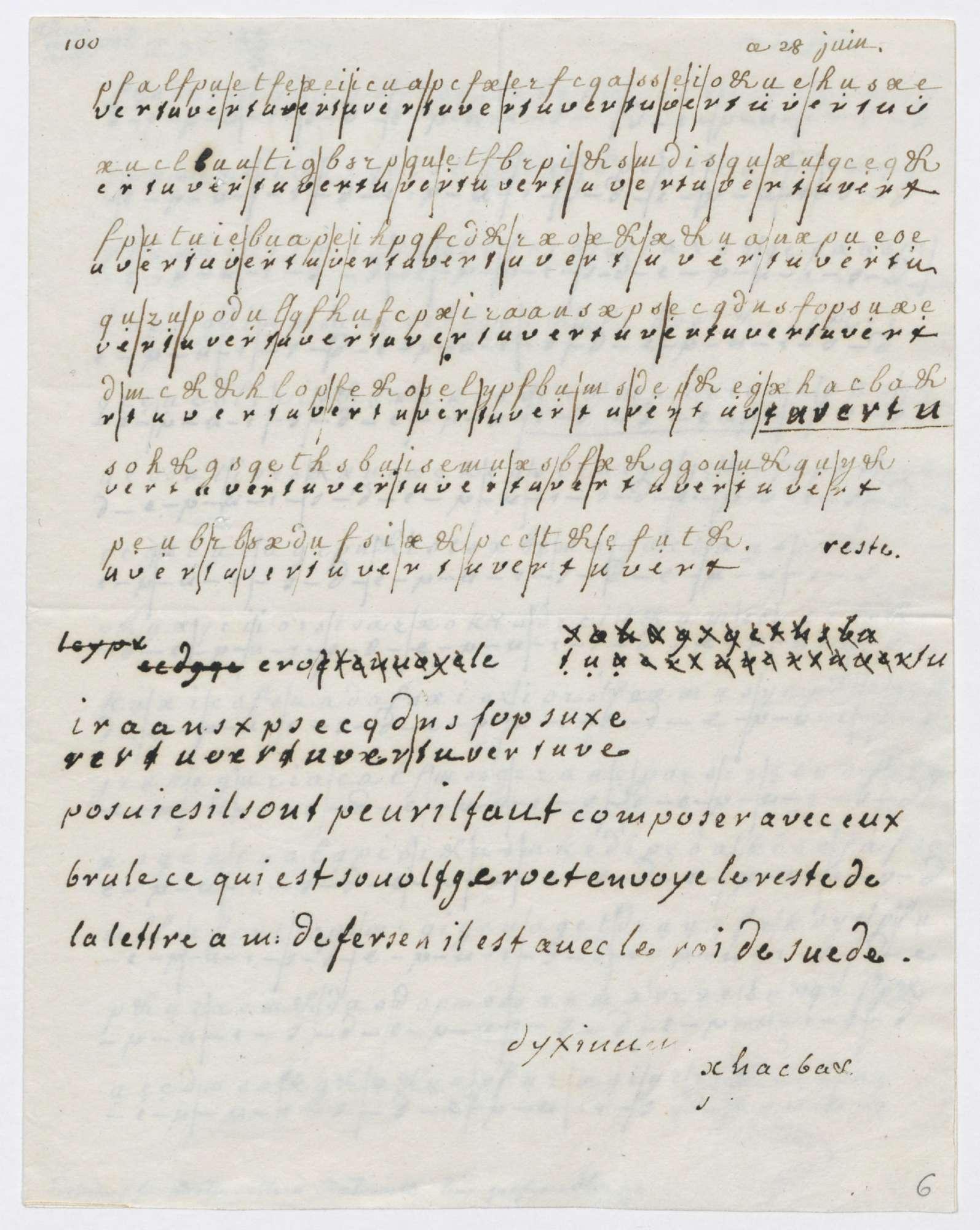 *Lettre cryptée échangée entre la reine Marie-Antoinette et le comte Axel de Fersen,\ datée du 28 juin 1791 - AN440AP/1, dossier 1, pièce 6, page 1*.